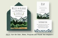 Mountain Wedding Invitation Suite includes: Wedding Invitation, RSVP, Information card, Save The Date, Wedding Program, Menu and Thank You templates! All text and font colors are editable.