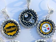 Sports Theme Party Favors Wine Charms pick your team, Steelers party decorations, pittsburg steelers favors, football theme decorations,