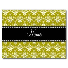 Personalized name gold yellow damask post card