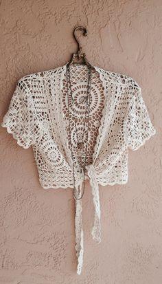 Beach Bohemian Crochet Tie crop top romantic gypsy by BohoAngels, $40.00
