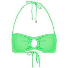 Women's Topshop Braid Bandeau Bikini Top ($15) ❤ liked on Polyvore featuring swimwear, bikinis, bikini tops, green, halter bikini, bandeau halter bikini top, bandeau bikini top, summer bikini and halter neck bikini top
