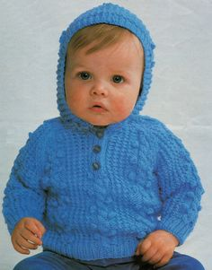 Baby Knitting Pattern - Hooded Sweater - 16 to 20 inches