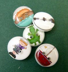"5 SMALL Puff the Magic Dragon Buttons. Children's Handmade Buttons. Sew on.  1/2"" or 13 mm. by buttonsbyrobin on Etsy https://www.etsy.com/listing/164303603/5-small-puff-the-magic-dragon-buttons"