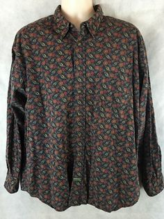 Dockers Authentics 100% Cotton Button Long Sleeve Shirt Leaves Size XL  #DOCKERS #ButtonFront