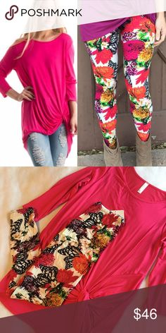 OUTFIT! Fuchsia Knotted tunic and spring leggings The perfect go-to outfit! One size (2-16) leggings and your choice size top available in small medium and large! Comment size at purchase :) Tunic is 95 %rayon and 5% spandex= flattering and flowy Leggings 92 %polyester and 8% spandex Tops Tunics