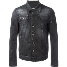 Dsquared2 microstudded denim jacket ($897) ❤ liked on Polyvore featuring men's fashion, men's clothing, men's outerwear, men's jackets, black, mens distressed denim jacket, mens studded jacket, mens military jacket, mens military style jacket and mens distressed leather jacket