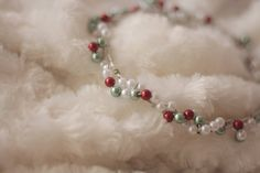Christmas Beaded Halo - newborn photo props, holiday props, newborn photography prop, halo prop