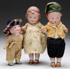 LOT OF THREE GERMAN BISQUE CHARACTER DOLLS.