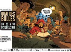 Quai des Bulles à Saint-Malo 2016, l'affiche signée par Sylvain Vallée http://www.ligneclaire.info/vallee-quai-des-bulles-2016-39569.html