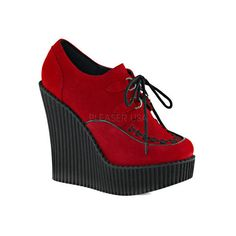 Women's Demonia Creeper 302 Wedge Oxford ($63) ❤ liked on Polyvore featuring shoes, oxfords, casual, casual shoes, red creeper, red wedge shoes, platform wedge shoes, lace up oxfords and red high heel shoes