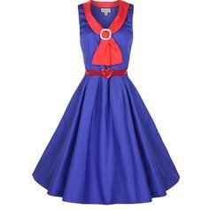 1950'S Pinup Sailor Collar Flared Tea Dress