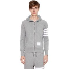 Thom Browne Men Intarsia Stripe Hooded Cotton Sweatshirt (1,210 NZD) ❤ liked on Polyvore featuring men's fashion, men's clothing, men's hoodies, grey, mens sweatshirts and hoodies, mens cotton hoodies, mens hoodies and mens short sleeve hoodies