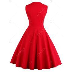 Button Embellished Polka Dot Retro Dress ($14) ❤ liked on Polyvore featuring dresses, embelished dress, dot dress, button dress, vintage red dress and retro dresses