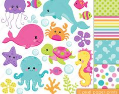 Animales marinos NEUTRALES  Set de Clip Art y Papeles