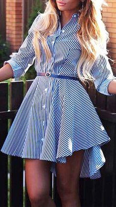 Blue Pinstripe Shirt Skater Dress