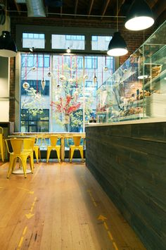 warm modern cafe design