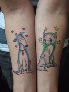 """I got these tattoos september 2011 :) because these are the animals that I love most and always want around me!""  Photo Credit: Peggy V.  #tattoo #dog #cat"