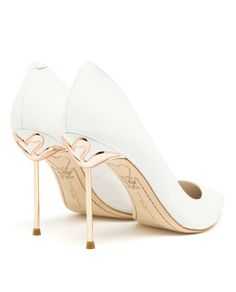 SOPHIA WEBSTER   Coco Pointed Leather Pumps   White leather pumps from Sophia Webster. Pointed toes. Rose-gold stiletto heel with flamingo detailing. Suede stitched sole. Cushioned leather insole.