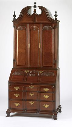 RISD Museum: Attributed to John Goddard, cabinetmaker, American, 1723-1785. Desk and Bookcase, 1760-1785. Mahogany, cedar, tulipwood, pine and chestnut. 256.5 x 106.7 x 61 cm (101 x 42 x 24 inches). Bequest of Mr. Charles L. Pendleton 04.042