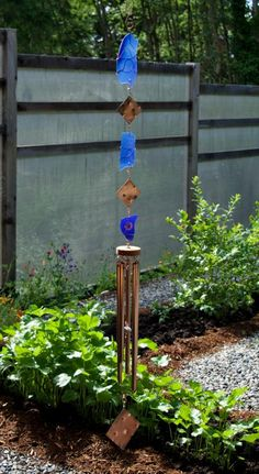 Contemporary Cobalt Blue Glass Wind Chime Copper Chimes