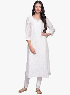 White Embroidered Cotton Silk Kurta Check more at http://www.beautyscoopindia.com/white-embroidered-cotton-silk-kurta/