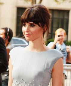 Felicity Jones Updos Bangs Hairstyle