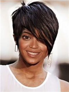 Cool Short Human Hair Full Lace Wig with Bangs for Black Women Item # W2396       Original Price: $954.00 Latest Price: $238.79