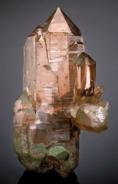 Smoky Quartz with green Chlorite accenting ~ Giuv Valley, Tujetsch (Tavetsch), Vorderrhein Valley, Grischun, Switzerland exceptionalminerals.com