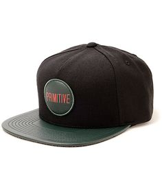 Cop a rad two tone style with a green and red Primitive patch embroidered on a black crown with a green faux leather bill.