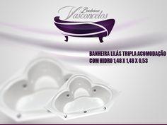 BANHEIRA LILÁS TRIPLA ACOMODAÇÃO COM HIDRO 1,48 X 1,48 X 0,53 BANHEIRA LILÁS TRIPLA ACOMODAÇÃO COM HIDRO 1,48 X 1,48 X 0,53 Com um belo design que oferece conforto e bem estar, a Banheira Lilás é fabricada com produtos de alta qualidade e acompanha os seguintes acessórios:     4 Jatos cromados 1 Entrada de água 1 Saída de água 1 Entrada de ar (arejador) 1 Sucção 1 Motor bomba 1/3 cv Tubulação de água dos bicos de hidromassagem Tubulação de ar dos bicos de hidromassagem