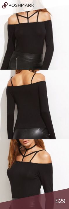 🌹SEXY CAGED BLACK FITTED TOP🌹 So so gorgeous. Stretchy knit fabric for custom fit. Long enough to tuck in or can be worn out. Very Dark Black.  Says Lg but should fit Med/Lg. Tops Blouses