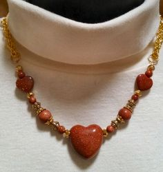 Goldstone Hearts and Gold Plate Necklace and Earring Set, Warm Cinnamon Brown Goldstone, For Her, For Wife, For Girlfriend, For Sister