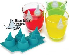 Shark ice cube trays fun in a water table.