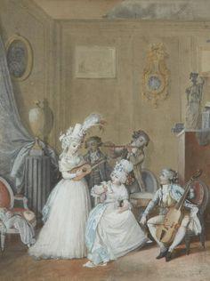 Salon concert, 18th century attributed to Jean Baptiste MALLET (Grasse 1759 - Paris 1835)