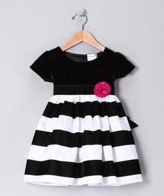 black and white stripe dress little girls pink flower.