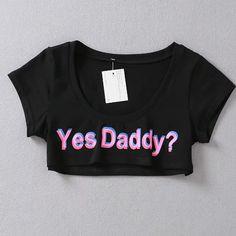 Women Crop Top Summer Fashion Yes Daddy Print Short T-shirt Beach Casual Tee  #LFS #CropTop #Casual