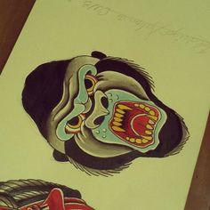 old school gorilla tattoo - Google zoeken