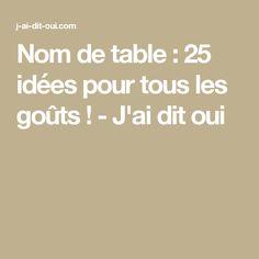 Nom de table : 25 idées pour tous les goûts ! - J'ai dit oui