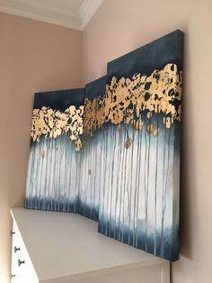 ideas for modern art diy canvas Drip Painting, Acrylic Painting Canvas, Diy Canvas Art, Canvas Wall Art, Gold Leaf Art, Decoration, Art Decor, Abstract Art, Diy Art