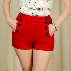VooDoo Vixen Red High Waisted Sailor Shorts for sale at Cats Like Us - 1