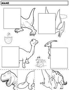 Color, cut, and match the dinosaur halves. Package includes five no prep worksheets. Dinosaurs Preschool, Preschool Writing, Preschool Curriculum, Preschool Worksheets, Preschool Learning, In Kindergarten, Preschool Activities, Teaching Kids, Dinosaur Worksheets