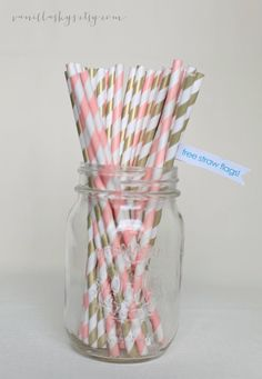 250 x Gold and Vintage Pink Paper Straws Free by VanillaSkys, $40.00