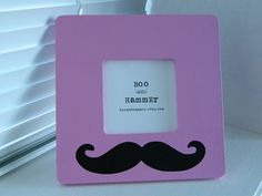 Hand Painted Pink and Black Mustache Picture Frame by Boo and Hammer on Etsy  $9.50