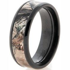 Titanium Mens Camouflage Ring Silver Mossy Oak Hunter Hunting Camo