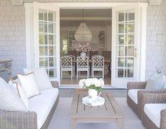 coastal style. Hamptons style. Outdoor living. Outdoor Space. French doors . Patio design . Patio living. Covered patio. ro sham beaux orbit chandelier. Restoration Hardware. Ballard designs. @jshomedesign