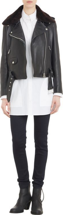 CLICK FOR AN AMAZING DEAL. Acne Studios Fur-Collar Leather Mape Moto Jacket-Black