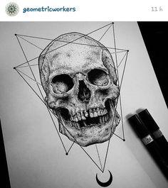 Dark Skull and geometric tatoo/ink Tattoo Illustration, Ink Illustrations, Baby Tattoos, Skull Tattoos, Tattoo Sketches, Tattoo Drawings, Skull Drawings, Dessin Old School, Totenkopf Tattoos