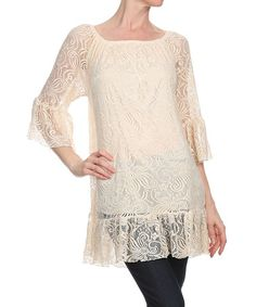 Another great find on #zulily! Beige Floral Lace Tunic - Women & Plus #zulilyfinds