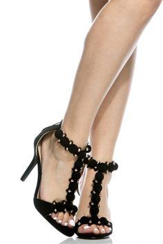 85b5a0e570e Black Faux Nubuck T Strap Single Sole Heels   Cicihot Heel Shoes online  store sales Stiletto Heel Shoes