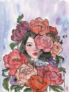 Les peintures de femmes et de fleurs de Stella Im Hultberg Dessein de dessin